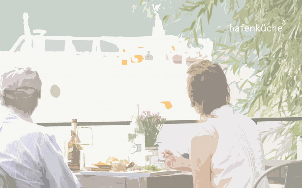 Blick von der Terrasse Hafenküche